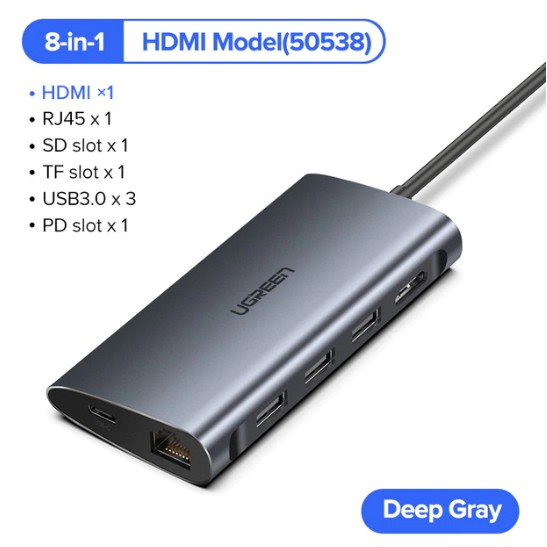 Thunderbolt 3 USB-C to HDMI 4K USB3.0 Hub Type-C PD Adapter For Mac Samsung Dex