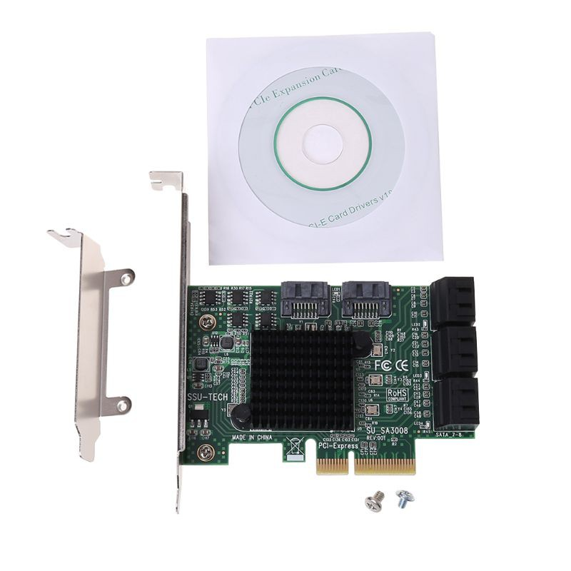 PCI-e PCI Express to SATA 3.0 III 3 SSD PCIe 6 Port Expansion Board Card Adapter