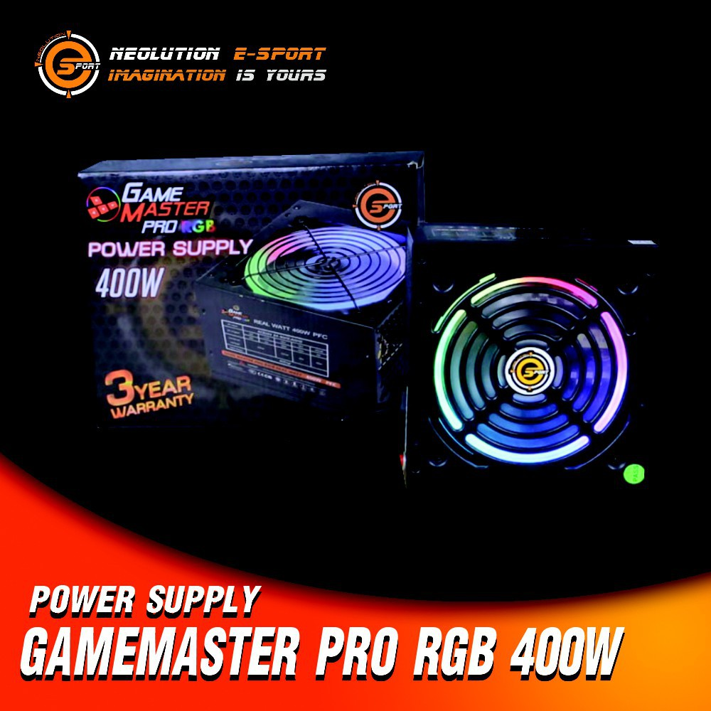 มีโค้ด10% PSU RGB 400W 700W Neolution Esport GameMaster Pro 3Years Warranty  80Plus Bronze