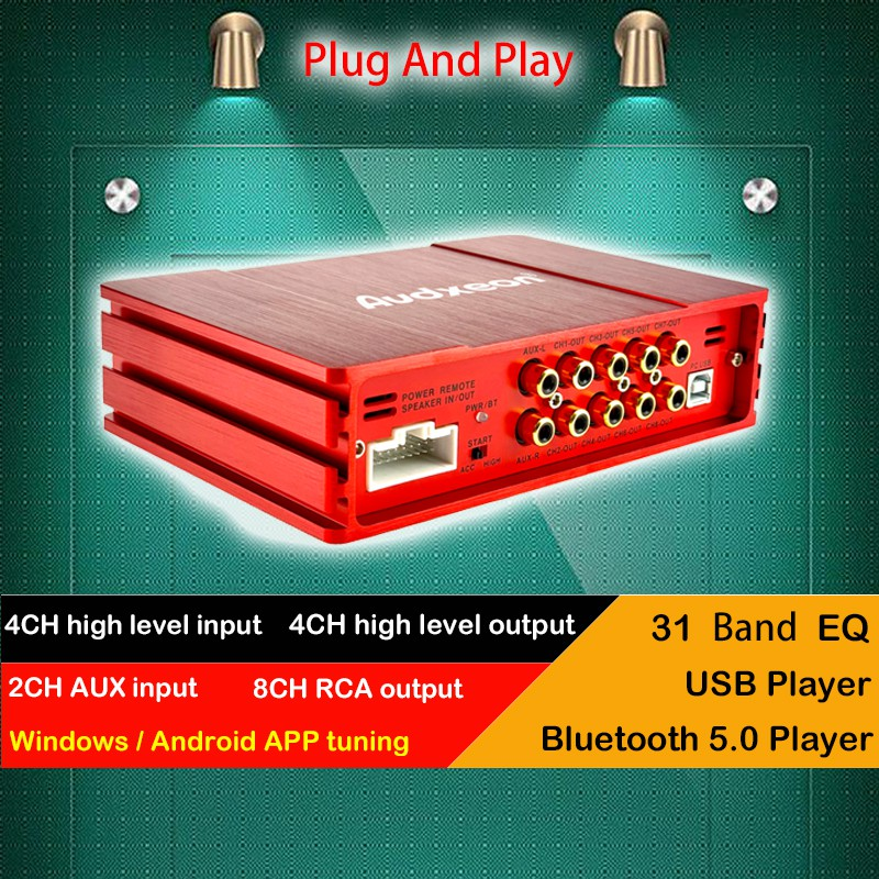 Audxeon d1806 8 channel car dsp+amp 31 band eq Equalizers สีเทา 4 input สําหรับรถยนต์ computer tuning
