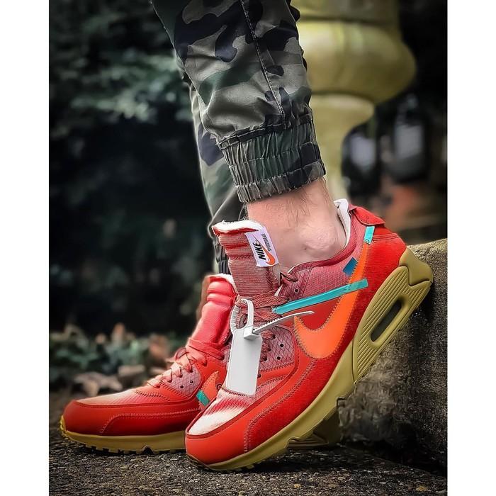 รองเท้าสีแดงขาว N Xke Airmax 90 Off-white