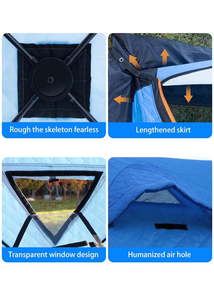 Please COD Winter Ice Fishing Tent Automatic Free Build Camping Outdoor Nature hike Tent Tourist Windproof Thicken Cotto