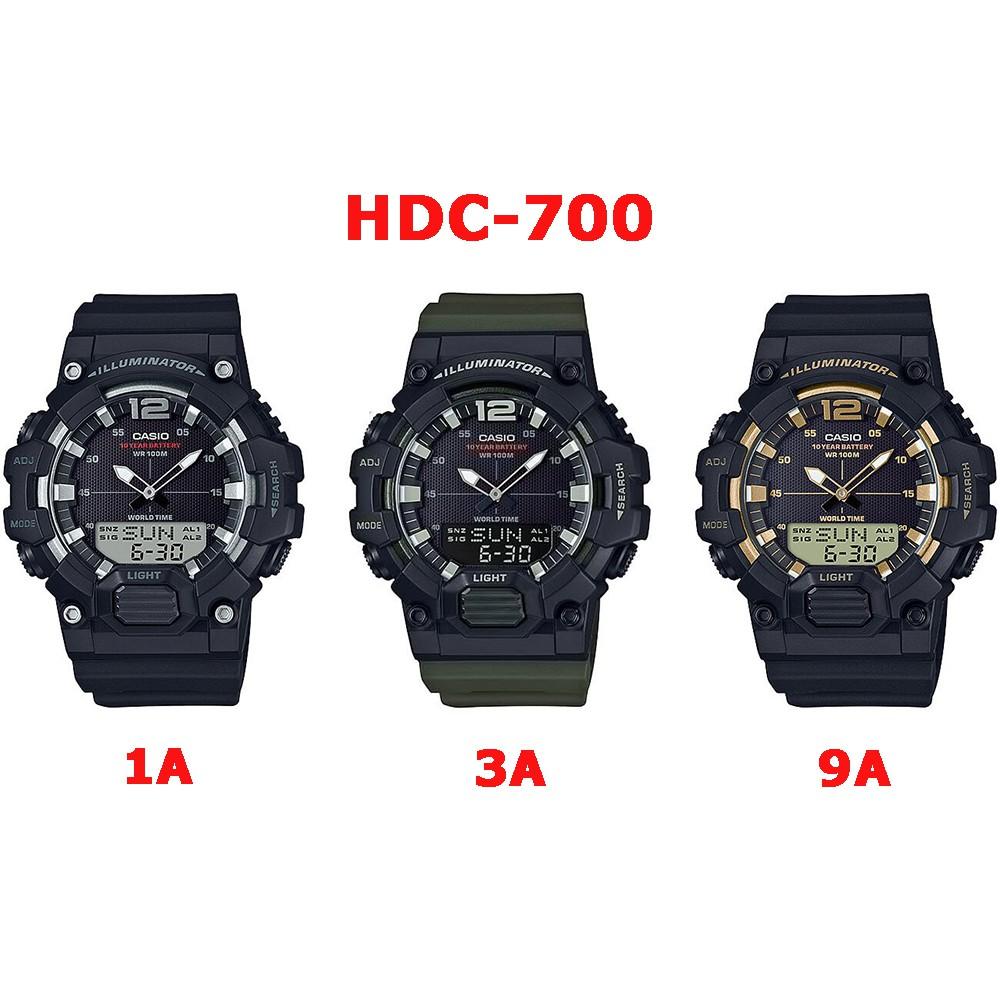 Casio ของแท้ 💯% นาฬิกาผู้ชายสายเรซิ่น HDC-700 SERIES อายุแบตเตอรี่ 10 ปี พร้อมกล่องและรับประกัน 1ปี HDC700