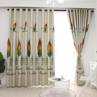 1pc Retro Leaves Print Semi-Blackout Curtains Bedroom Windows Decor Drapes