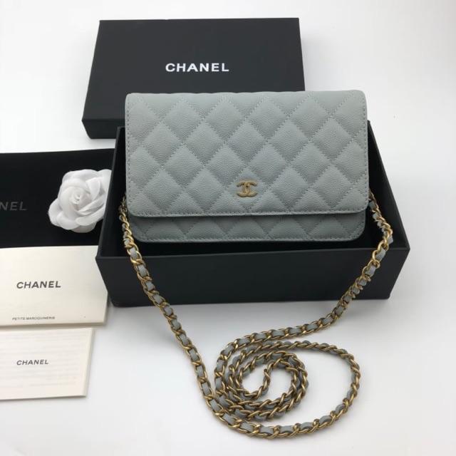 กระเป๋า Chanel woc cavier 19cm. hi-end1:1หนังแท้ ตารางตรง พร้อมส่ง