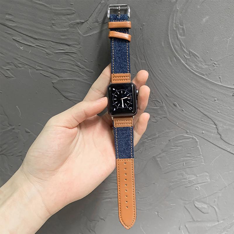 สายนาฬิกาข้อมือหนังสําหรับ Apple Watch Band Series 5 4 3 2 1