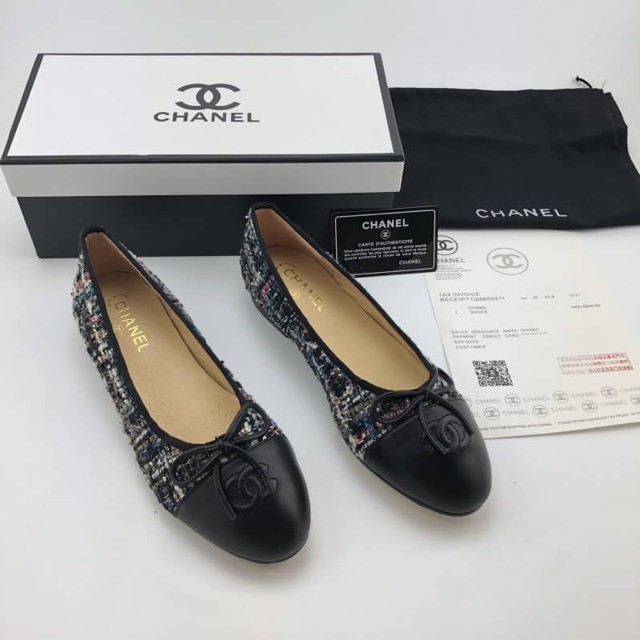การซื้อของแท้】Chanel Ballet Tweed Flat Shoes Hi-end รองเท้าคัชชู ชาแนล