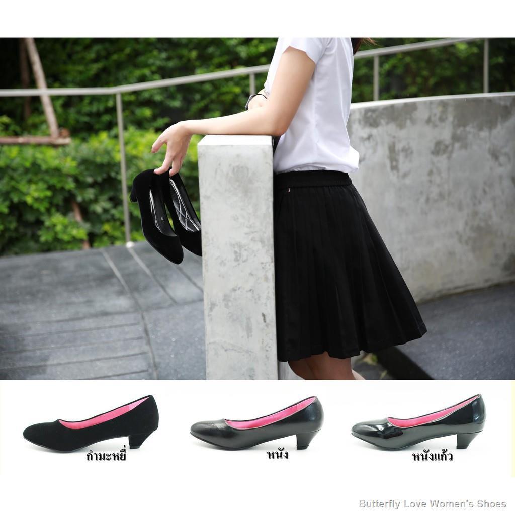 จัดส่งด่วน❄ รองเท้า รองเท้าคัชชูนักศึกษา รองเท้าส้นสูง รองเท้าคัชชูสีดำ