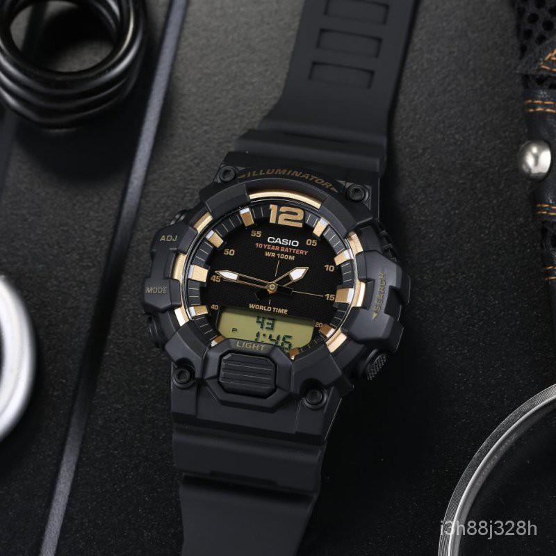 Casioนาฬิกา Casio ชายสิบตัวชี้ไฟฟ้าดิจิตอลนาฬิกาเคลื่อนไหวคู่HDC-700-9A