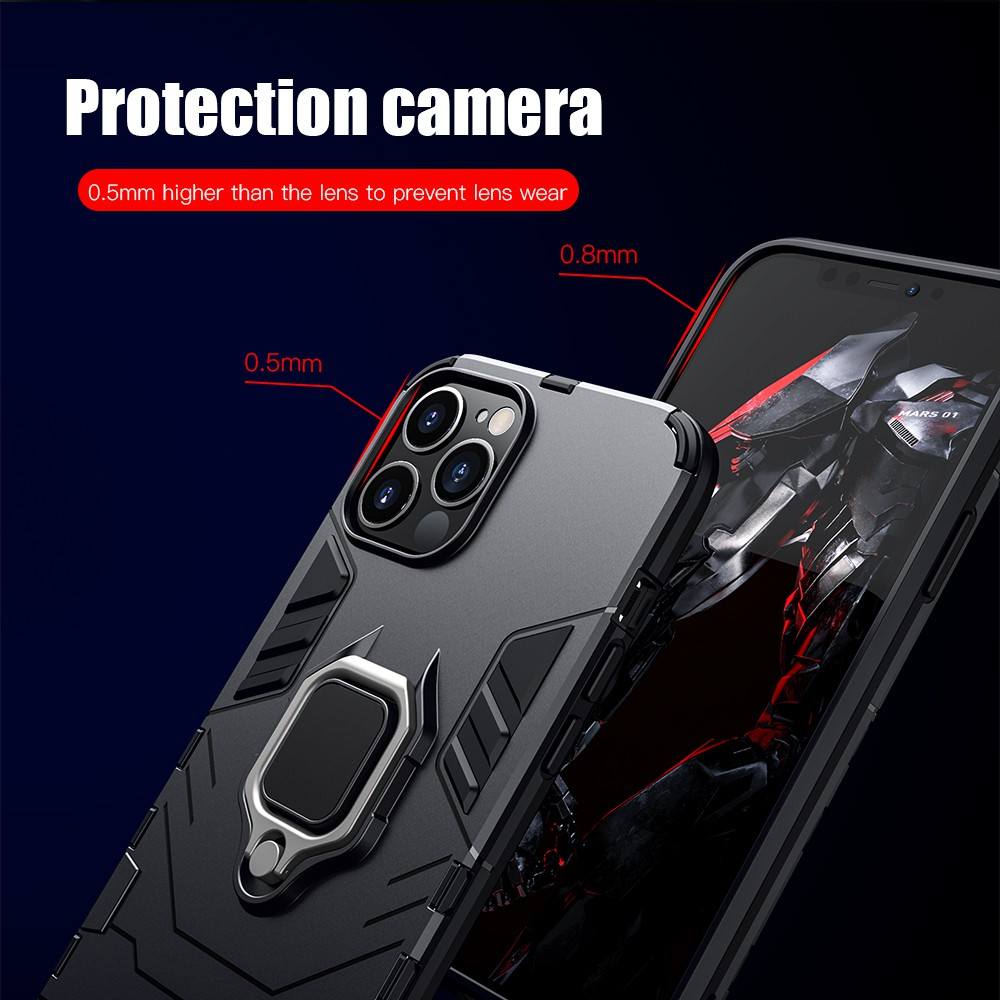 □▧◕KEYSION Shockproof Armor Case for iPhone 12 Pro Max Mini Ring Stand Back  Cover 11 XS XR 8 7 6 Plus SE | Shopee Thailand