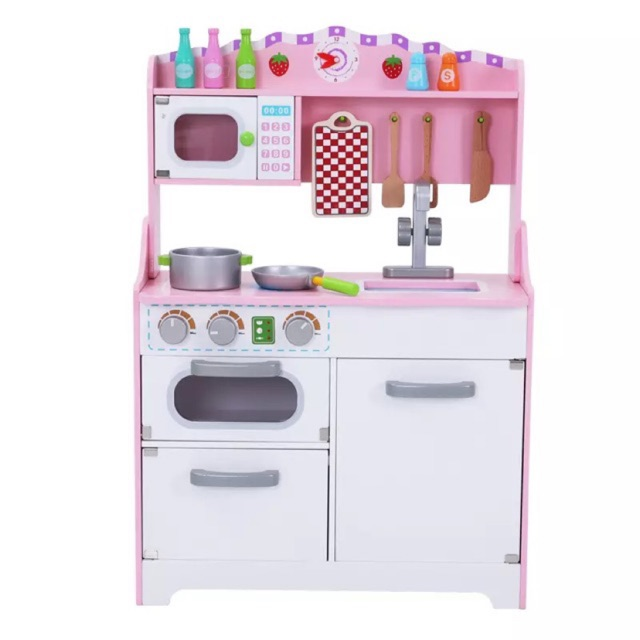 Babies Books Toys **รอเคลียร์สินค้า** ชุดครัวไม้ ครัวไม้สีชมพู พร้อมอุปกรณ์ ของเล่นทำอาหาร บทบาทสมมติ