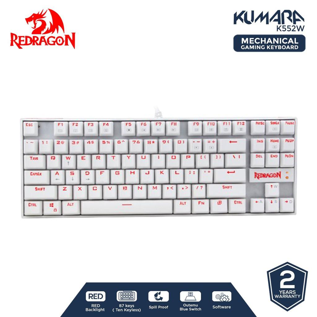 คีย์บอร์ดเล่นเกมส์ Redragon Kumara สีขาว - K552W