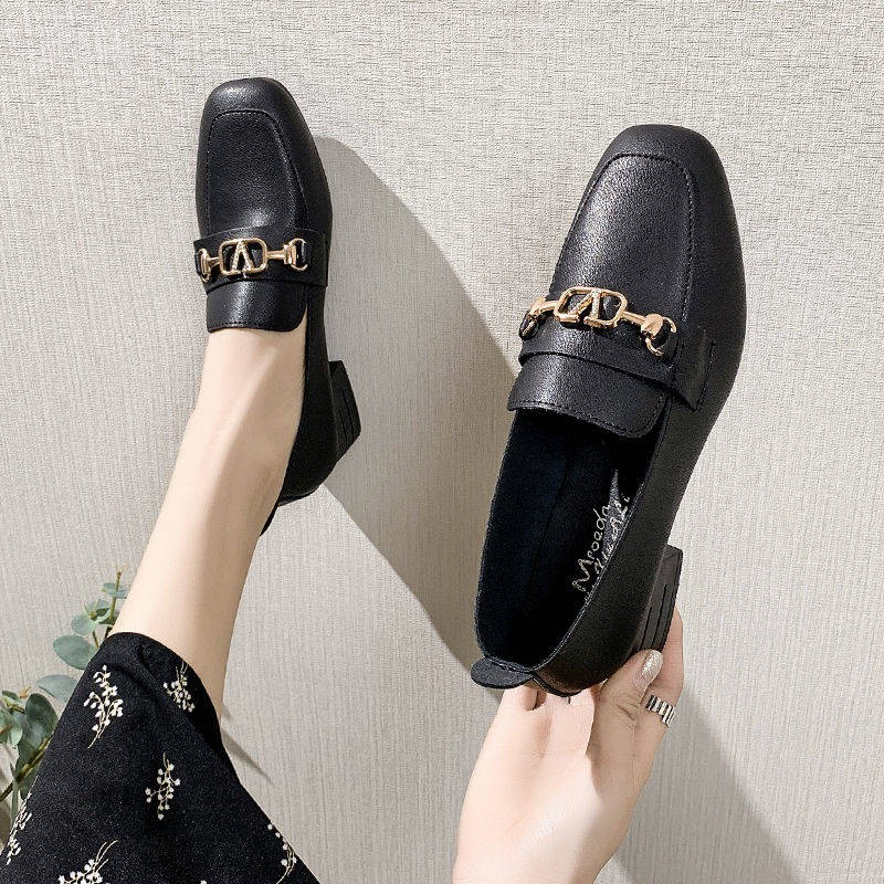 ร้องเท้า รองเท้าคัชชู รองเท้าผู้หญิง ✱2021 ฤดูใบไม้ผลิใหม่รองเท้าหนังขนาดเล็กหญิงชายแดนอังกฤษที่มีหนาสีดำรองเท้า Lefu ป่