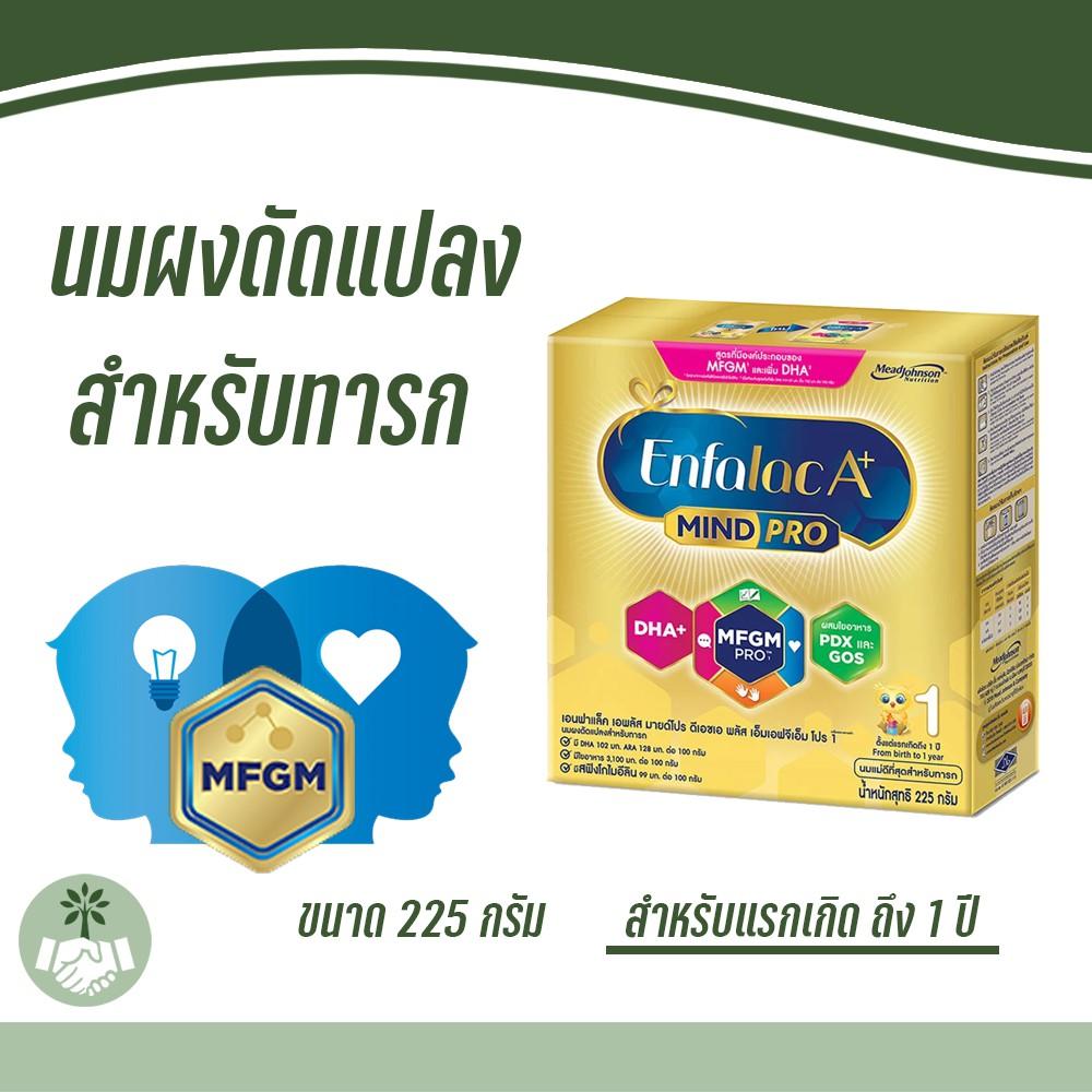 นมผงสำหรับเด็กแรกเกิด ถึง 1 ปี Enfalac A+ 1 Mindpro 225g. เอนฟาแลค เอพลัส มายด์โปร สูตร 1 ขนาด 225 กรัม