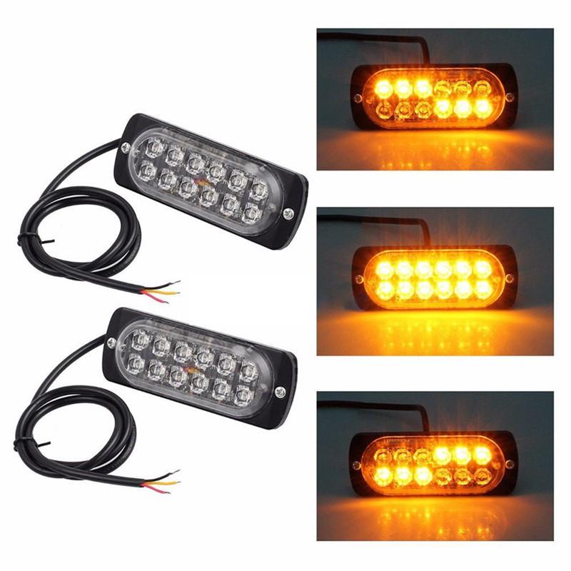 12x 12 LED Car Emergency Hazard Warning Beacon Strobe Light Grill Amber Y White