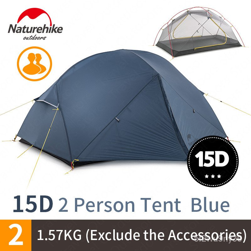 Naturehike Mongar 2 ersons Tent Waterroof 15D Nylon Fabric Caming Tent Ultralight Large Inner Sace Tourist Tent With Mat