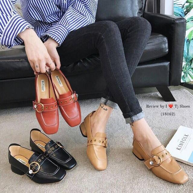 รองเท้าคัชชู (ดำ/ครีม/ส้มอิฐ)🌺