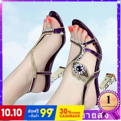⭐👠รองเท้าส้นสูง หัวแหลม ส้นเข็ม ใส่สบาย New Fshion รองเท้าคัชชูหัวแหลม  รองเท้าแฟชั่นใหม่ของผู้หญิงรองเท้าแตะrhinestoneเ