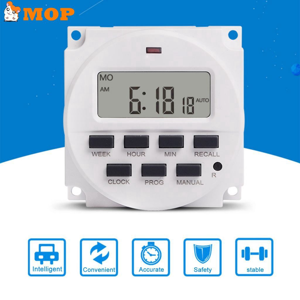 DIN Rail Time Relay Switch Digital LCD Power Programmable Timer DC 12V 16A H9 2X