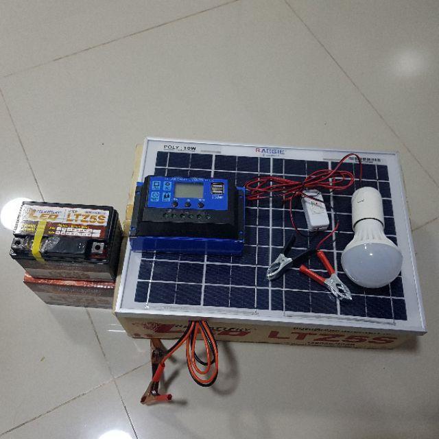 ไฟฉุกเฉิน﹢ ชุดแผงโซล่าเซลล์โพลี 10 W ชุดนอนนา/แบตเตอรี่ 12V5A /pwm 10/20/30A /หลอด LED 12V 7W