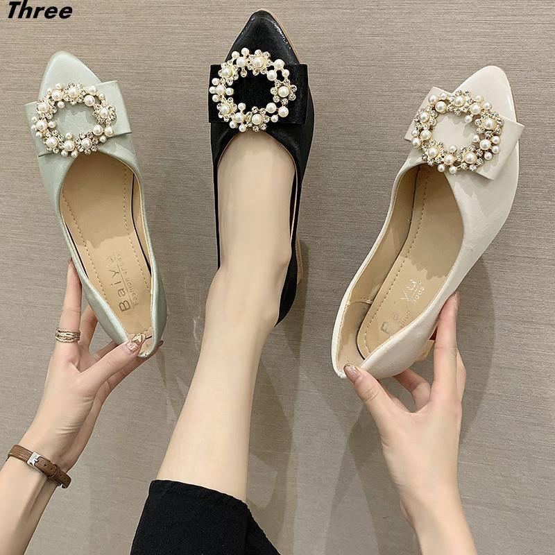 รองเท้าผู้หญิง, รองเท้าส้นแบน, รองเท้าเดี่ยวทุกแบบ, รองเท้าผู้หญิง, รองเท้าคัชชูหัวแหลม, พื้นนิ่ม, รองเท้าถั่ว, สปริง