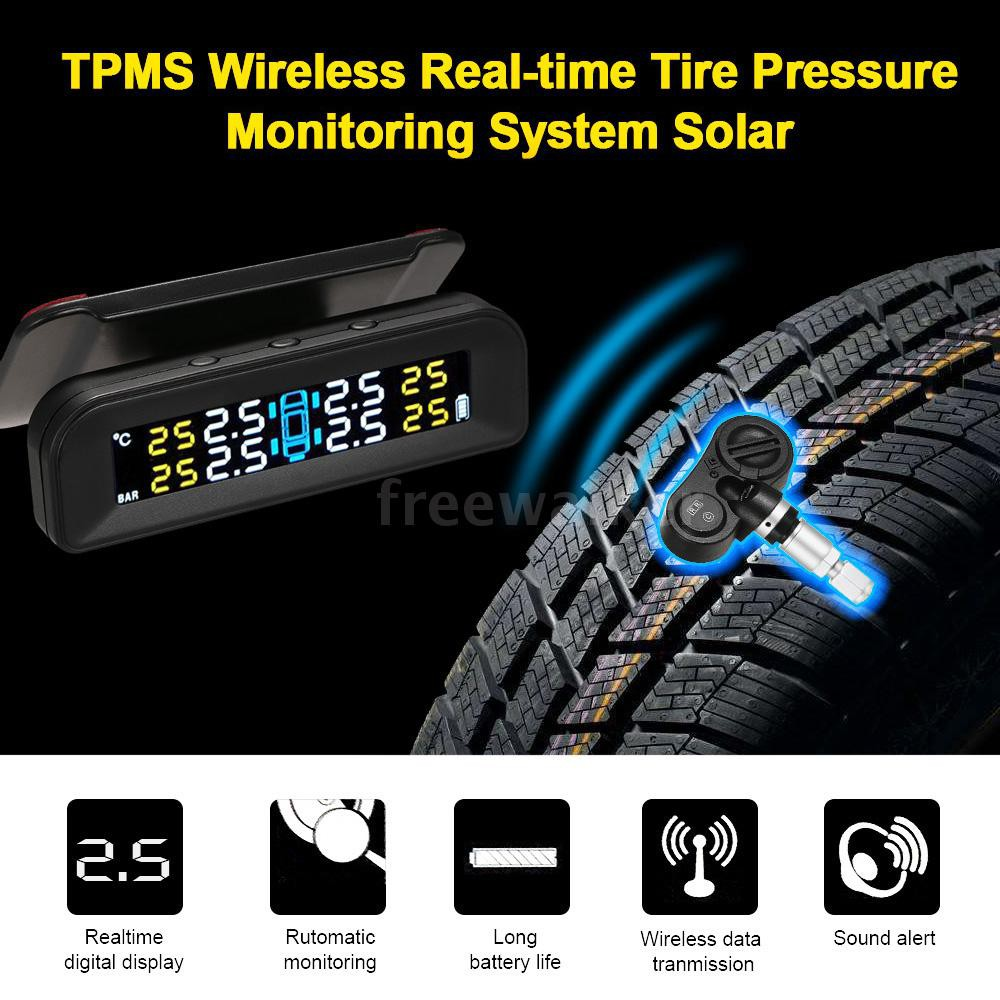 KKmoon Solar Energy TPMS Tire Pressure Monitoring System with 4 External Sensors Alarm Function Wireless Real-time Display 4 Tires Pressure /& Temperature with Clear LED Display