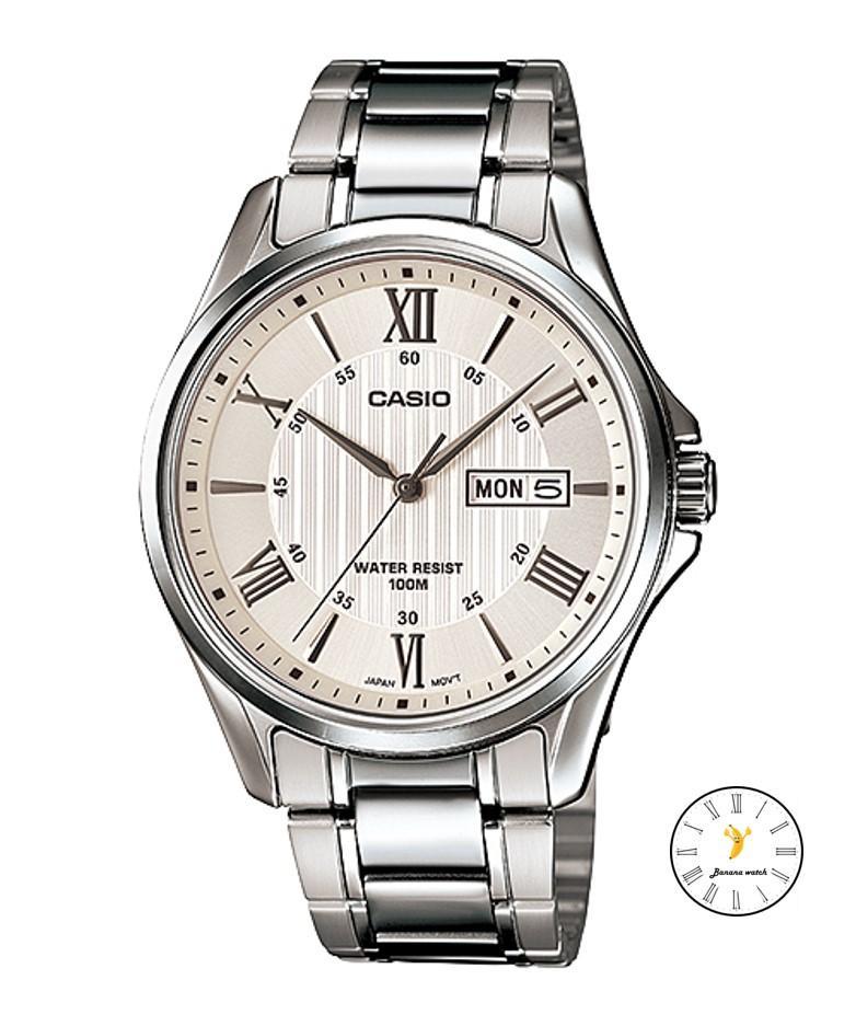 Casio Standard Gent quartz นาฬิกาข้อมือผู้ชาย เงิน/ขาว สายสแตนเลส รุ่น MTP-1384D-7AVDF TcWZ