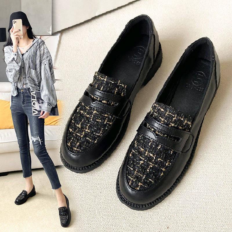 รองเท้าคัชชู รองเท้าผู้หญิง ❈รองเท้าหนัง 2020 ฤดูใบไม้ร่วงและฤดูหนาวรองเท้าหนังขนาดเล็กหญิง YingLai ลมดำร้อยถั่วถั่ว Le