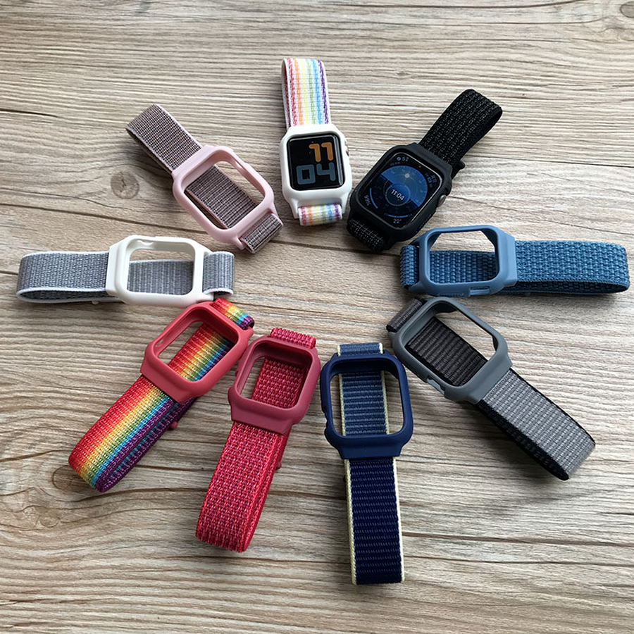【Case + strap】 Integrated nylon watch strap Apple Watch Series 6 SE 5 4 3 2 1 38MM 40MM 42MM 44MM