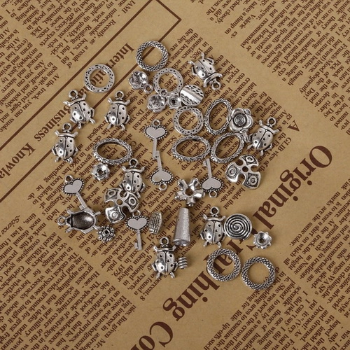 Antique bronze rhinestone charm pack of 2