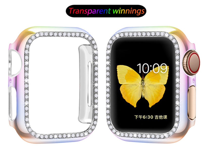 Hard PC Case Apple Watch 38mm 40mm 42mm 44mm Cover Series 5 4 3 2 1 iWatch 38 40 42 44 mm Diamond Colorful Protect Casing