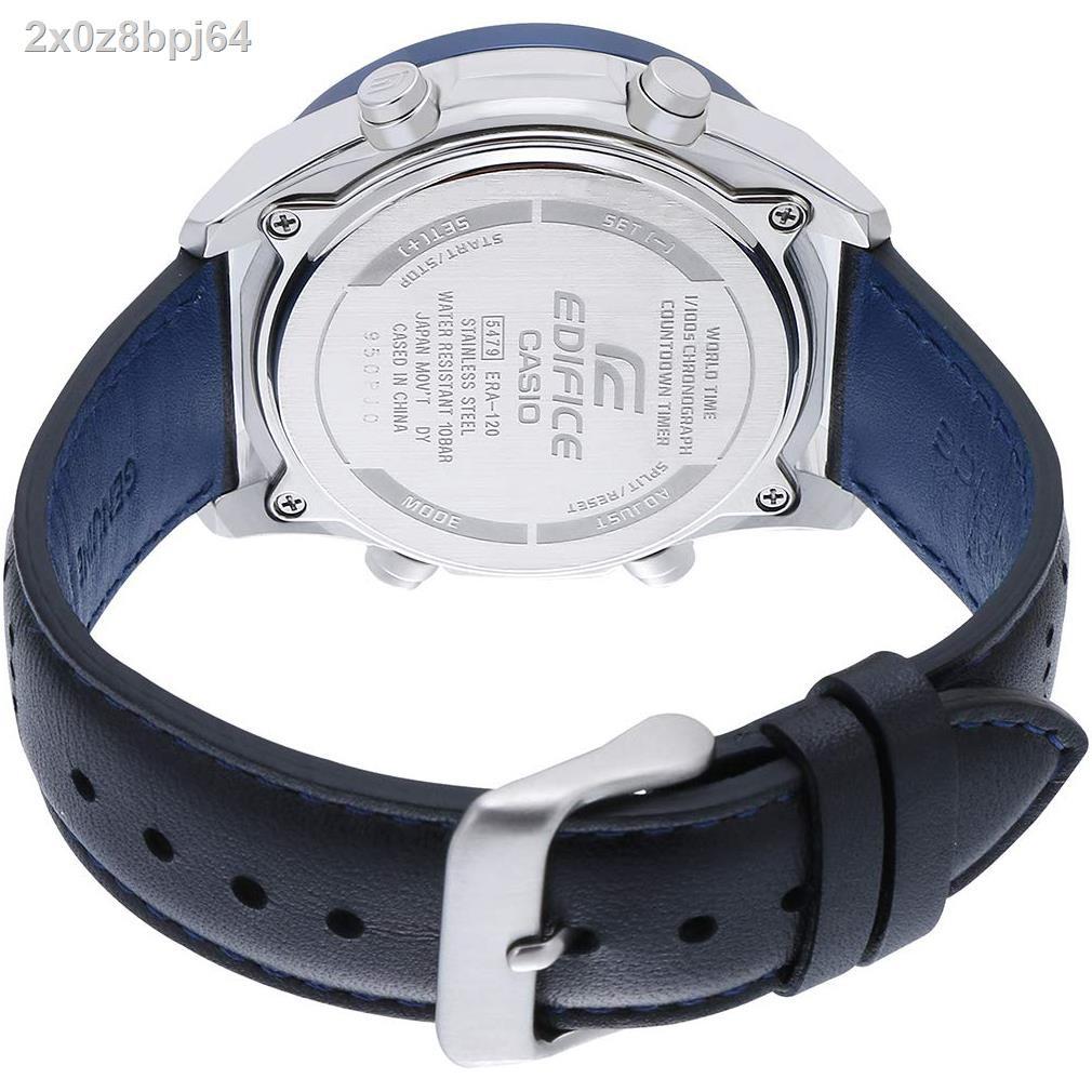 จุด♠◊◈Casio Edifice เข้าร่วม 10 ปีนาฬิกาข้อมือผู้ชายสองระบบเข็มนาฬิกาสายหนังแท้รุ่น ERA-120BL-2A ของแท้ประกัน CMG