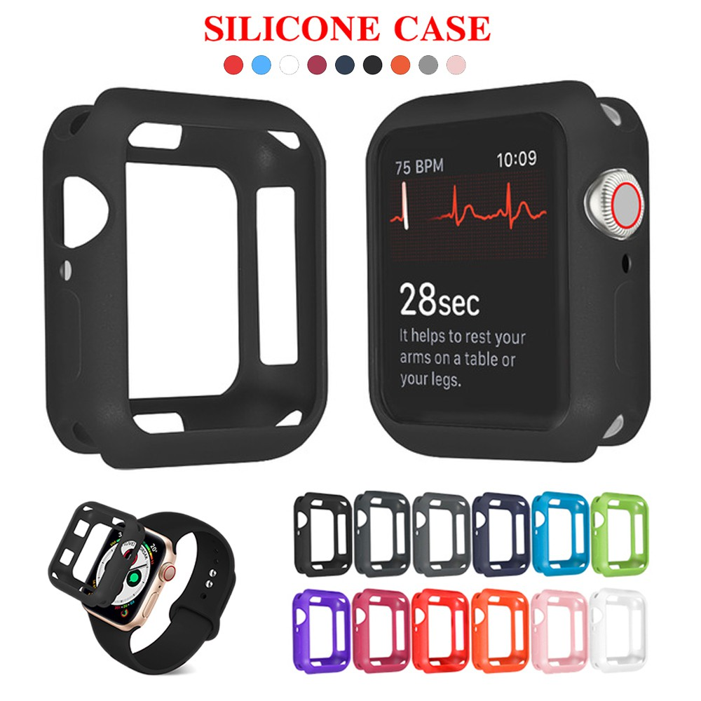 Soft Silicone Case for Apple Watch 3 2 1 42MM 38MM Cover Full Protection Shell for iWatch 6 SE 5 4 40MM 44MM Watch Bumper