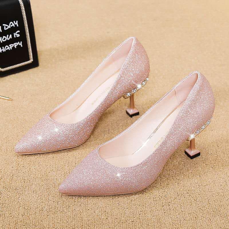 รองเท้าส้นสูงไซส์ใหญ่!รองเท้าคัชชู!รองเท้าส้นสูงมือสอง! รองเท้าส้นสูง Rhinestone ผู้หญิงกริชแชมเปญ 2020 ใหม่สีเงินเลื่อมรองเท้าแต่งงานเพื่อนเจ้าสาวรองเท้าที่จัดเลี้ยงชี้รองเท้าเดียว