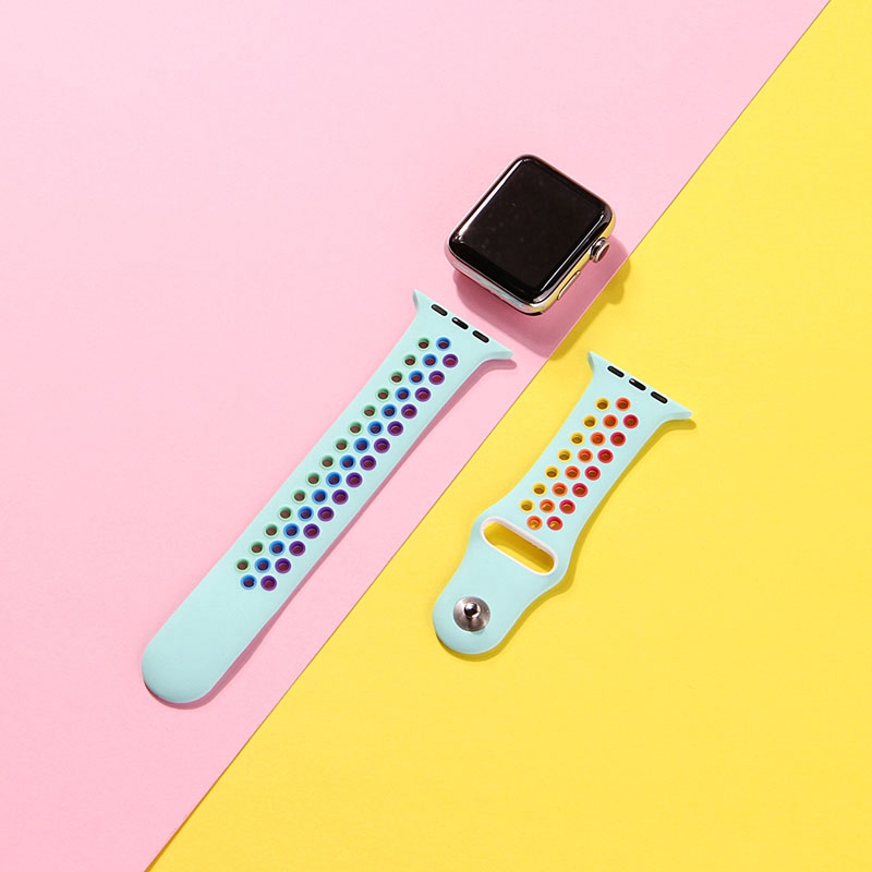 Soft band Apple Watch 38mm 40mm 42mm 44mm Silicone Strap Series 5 4 3 2 1 iWatch 38 40 42 44 mm Breathable Painted Rainbow Bands