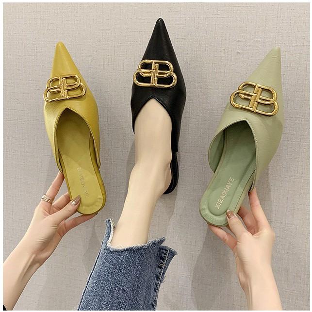 เปิดส้น รองเท้าผู้หญิง รองเท้าแฟชั่น💕รองเท้าคัชชูหัวแหลม รองเท้าเปิดส้นใหม่ รองเท้าคัชชูหัวแหลม รองเท้าผู้หญิงเปิดส้น