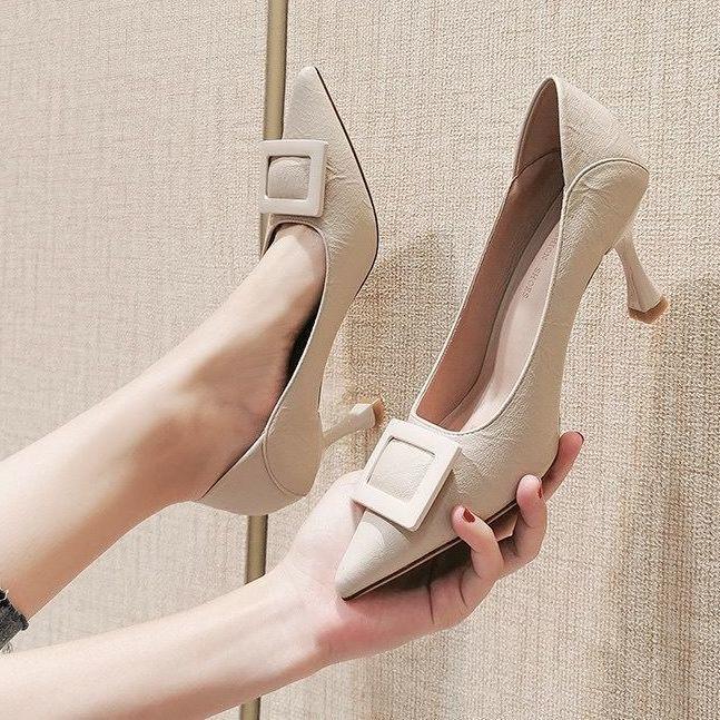 รองเท้าแตะแฟชั่นผู้หญิง รองเท้าคัชชู bata รองเท้าผู้หญิง (มีสินค้า) 🍓🍓รองเท้าส้นสูงผู้หญิง stiletto ใหม่สีดำมืออาชีพไม