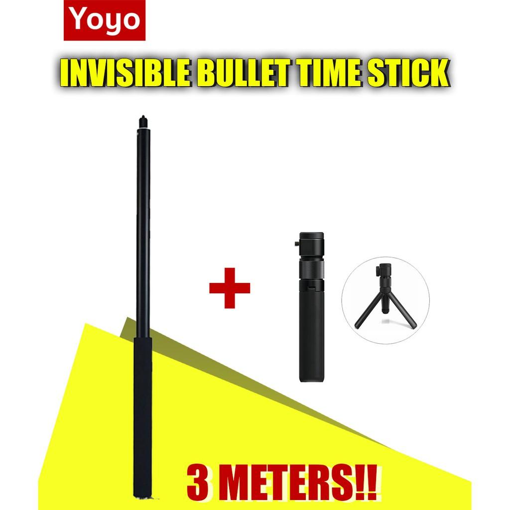 YOYOCAM ไม้เซลฟี่ Invisible Selfie Stick ยาว 3 เมตร Super Long Selfie Stick สำหรับกล้อง GoPro Insta360 SJ GOPRO MAX 360