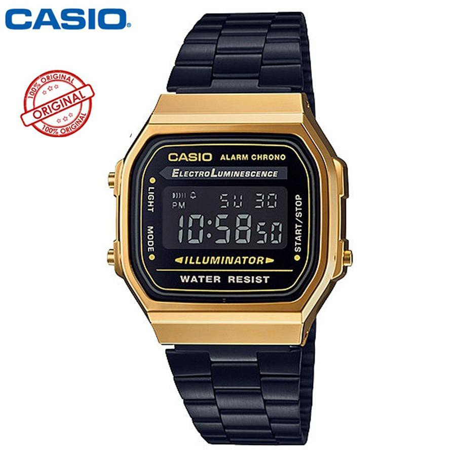 Casio Standard นาฬิกาข้อมือผู้ชาย สายสแตนเลส รุ่น A168WEGB-1B - สีดำ/ทอง(ของแท้100% ประกันCMG)