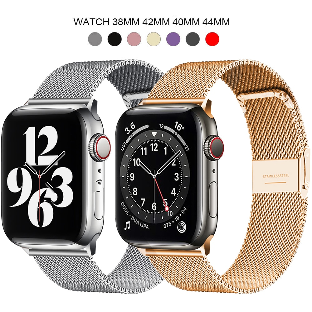 Milanese Stainless Steel Metal for apple watch Watchband 38mm 40mm 42mm 44mm Band Strap for iwatch Bracelet series 5 4 3
