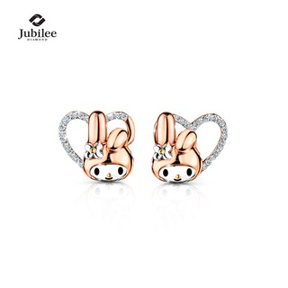 [Sanrio ลิขสิทธิ์แท้] Jubilee Diamond - TWO-WAY PAVE SPARKS STUD EARRINGS: MY MELODY