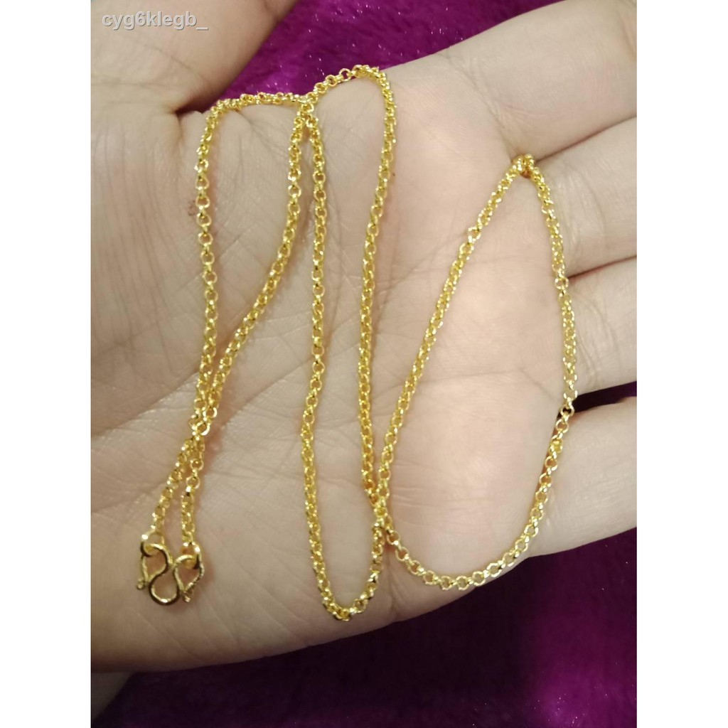 ↂ* ลดล้างสสตอก 3 วันสุดท้าย (ราคาปกติ 199): สร้อยคอลายผ่าหวายจิ๋วขนาด 1 สลึงยาว 18 นิ้วชุบทองคำแท้ 96.5% ทองไมครอนทองชุ