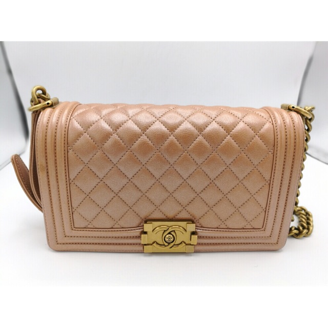 """*Authentic* Used Like New Chanel Boy 10"""" GHW Calfskin Holo20 Rose Gold Color"""