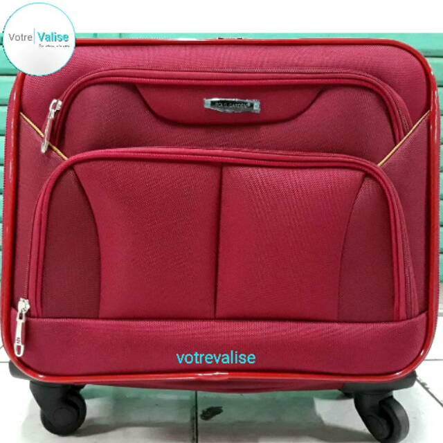 กระเป๋าเดินทางแบบผ้าสีแดงเลือดขนาด 14 นิ้ว