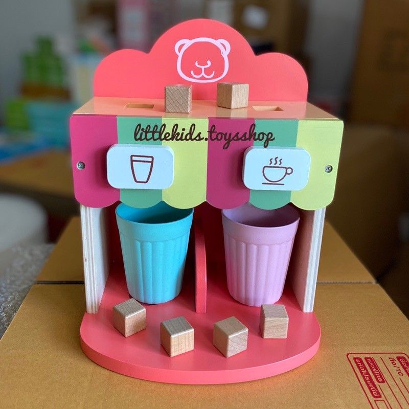 Toywoo ชุดเครื่องทำกาแฟ เครื่องดื่ม (สีชมพู) ของเล่นไม้ ของเล่นเด็ก