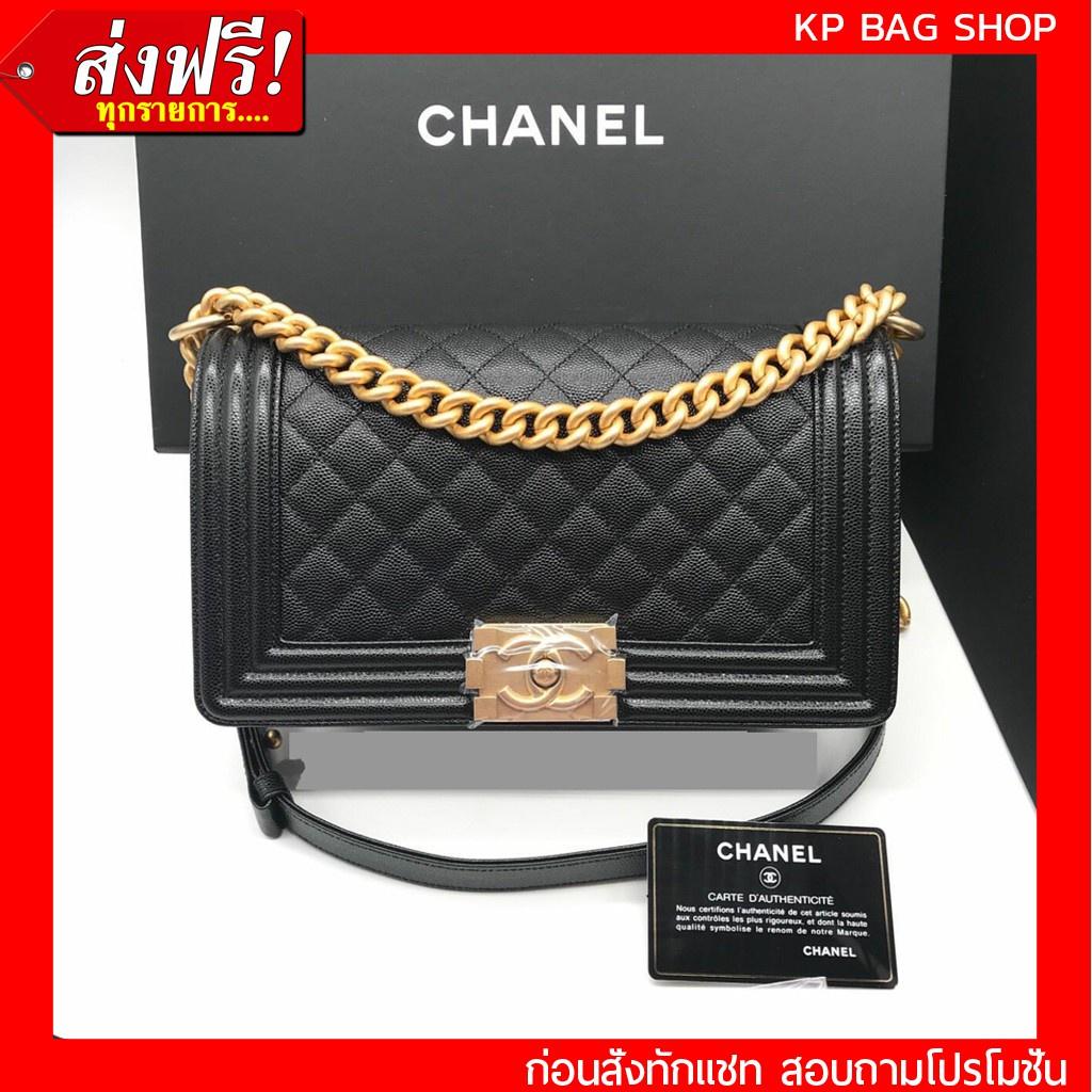 ราคาพิเศษ มือสองกระเป๋า เคส [การันตี งานเปะมาก] Chanel Boy 10 Caviar GHW Original Grade Full Set Option หนังแท้ 100%