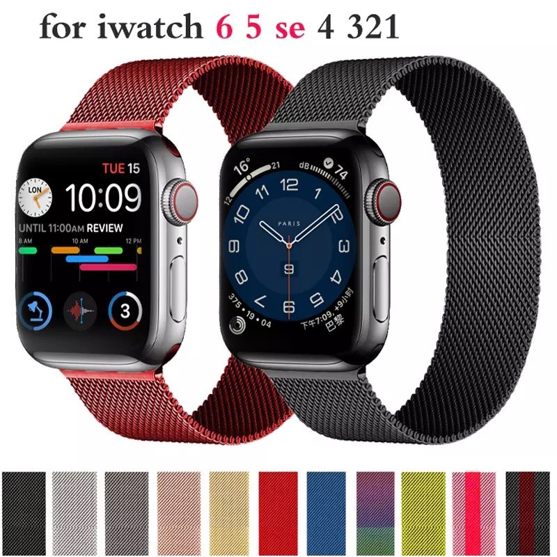🔥 สายเปลี่ยนนาฬิกาข้อมือ สำหรับ AppleWatch Band Milanese Loop Series 1 2 3 4 5 6 44 มม40 มม 38 มม 42 มม สำหรับ