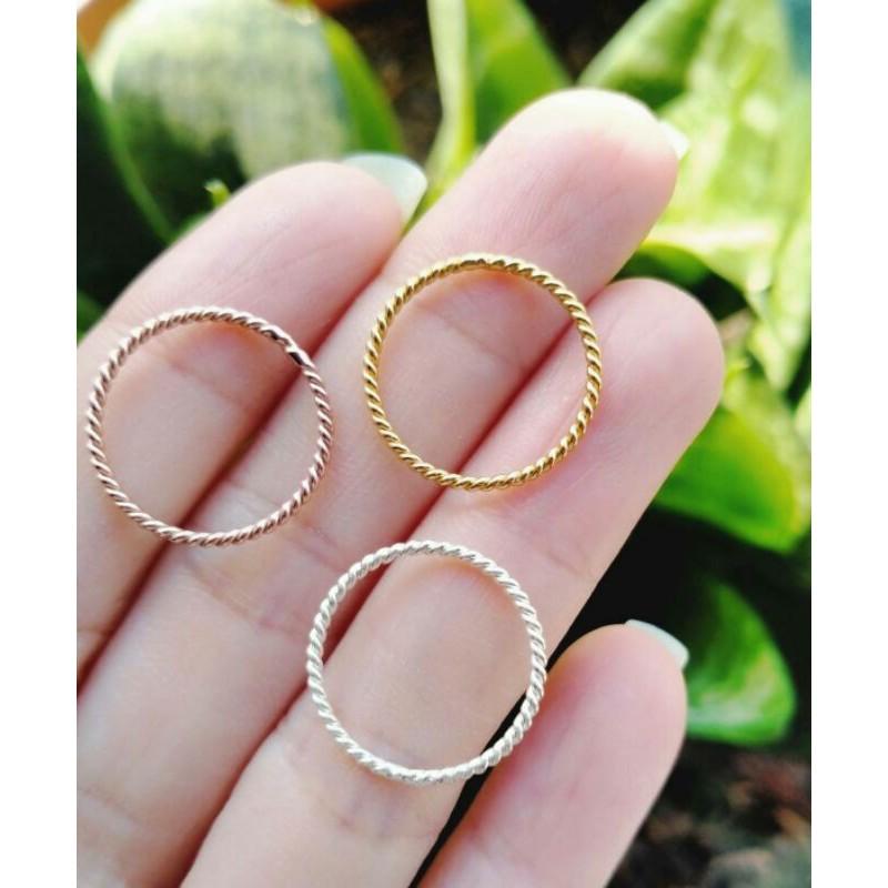 แหวนเงินแท้ Minimal Ring Style 925 ลายเกลียว แหวนเงินแท้ 3กษัตริย์ ชุบทอง ทองคำขาว พิงค์โกลด์  ไซส์46#หรือ4 ราคาต่อวง