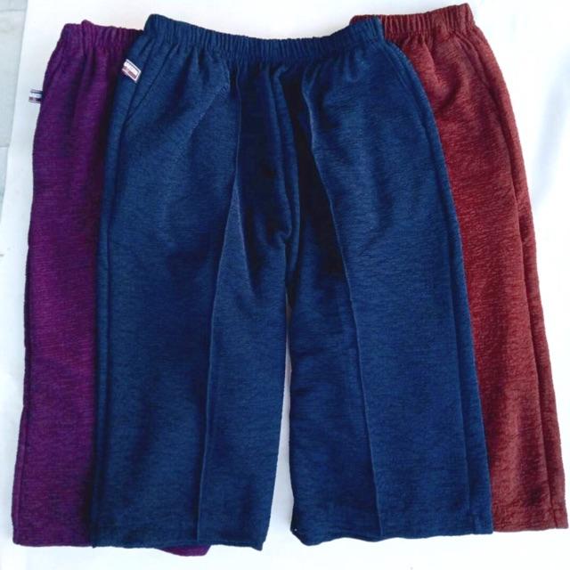 กางเกงคนแก่ ผ้าหนังไก่ ขาสี่ส่วน