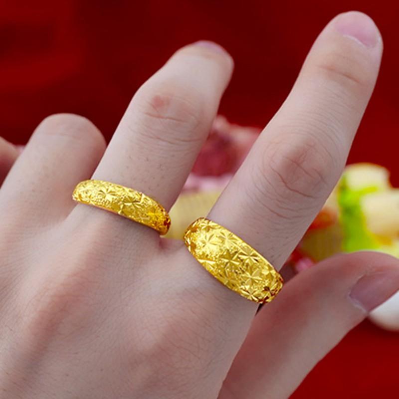 แหวนทอง 18K ปลอดภาษีฮ่องกงผู้ชายและผู้หญิงสดปาก 99 ทองเต็ม 24K แหวนทองคู่รักไม่จางราคาพิเศษ